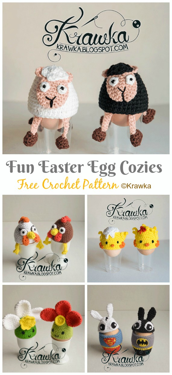 Fun Easter Egg Cozies Crochet Free Pattern - #Crochet; #Easter; Egg Cozy Cover & Holder Free Patterns