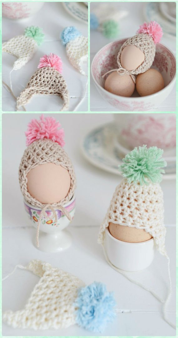 Easter Egg Egg Dude Hats Crochet Free Pattern - #Crochet; #Easter; Egg Cozy Cover & Holder Free Patterns