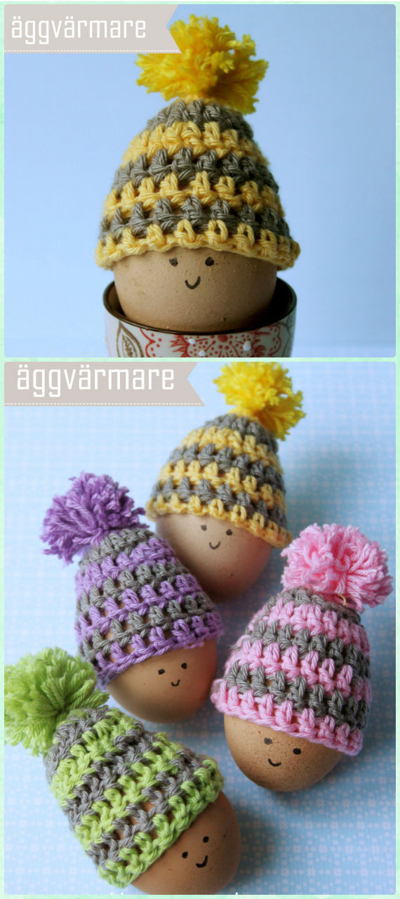 Simple Easter Eggs Hat Crochet Free Pattern - #Crochet; #Easter; Egg Cozy Cover & Holder Free Patterns