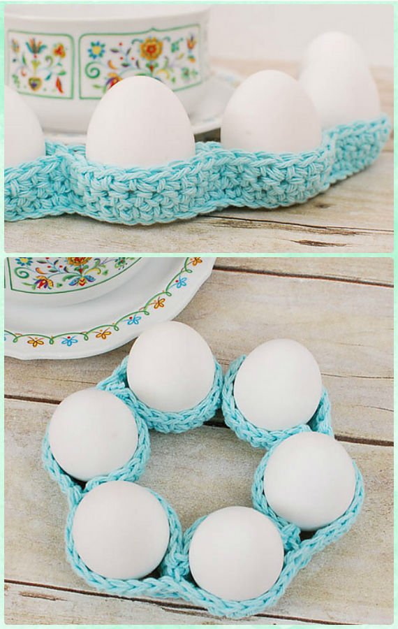 Easter Egg Tray Table Decor Crochet Free Pattern - #Crochet; #Easter; Egg Cozy Cover & Holder Free Patterns