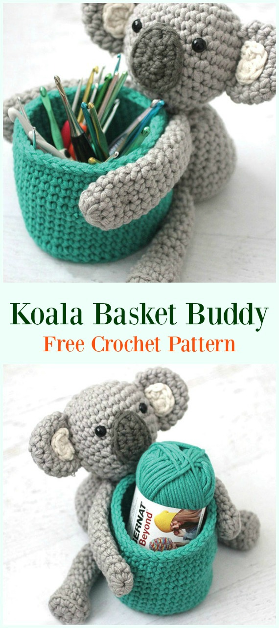 Crochet Bernat Koala Basket Buddy Free Pattern-#Crochet #HookCase & Holders Free Patterns