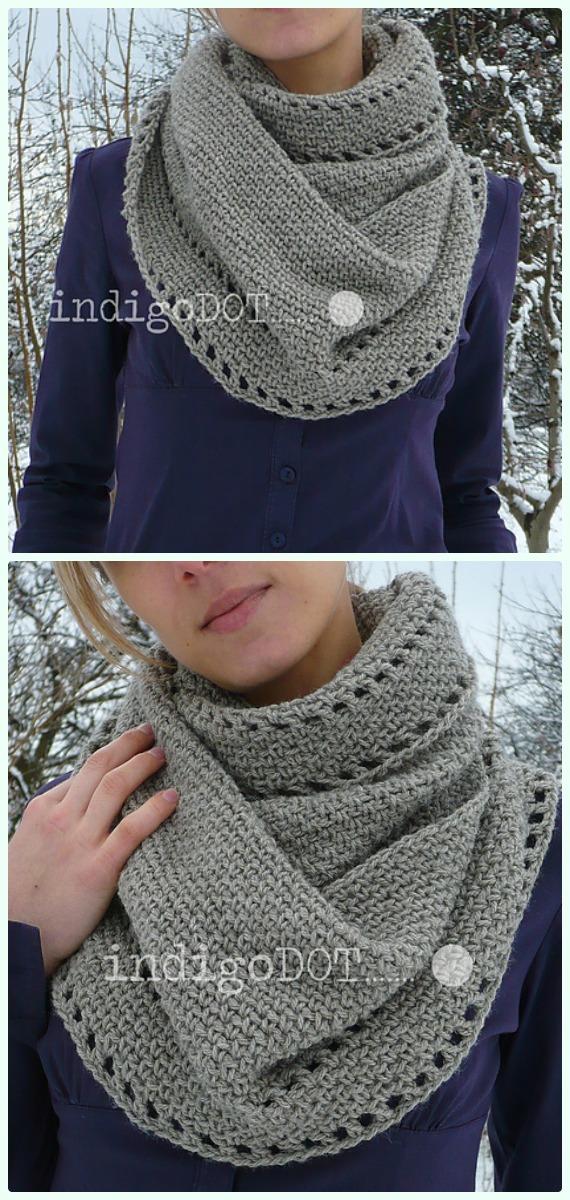 Calm Cowl Crochet Free Pattern - #Crochet #Cowl & Infinity Scarf Free Patterns