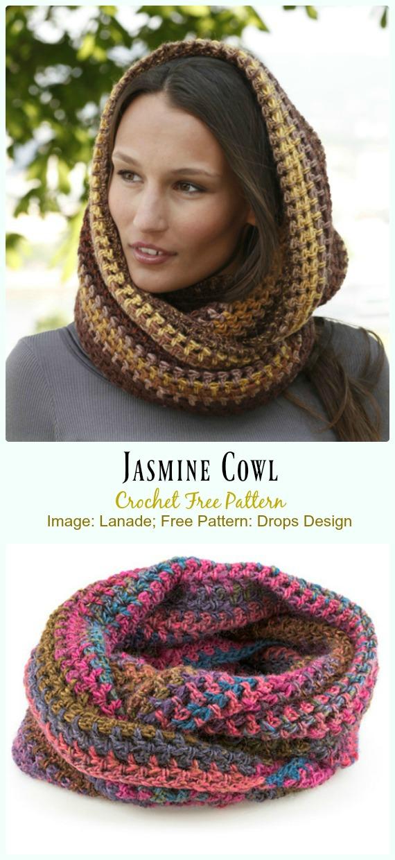 Jasmine Cowl Crochet Free Pattern - #Crochet #Cowl & Infinity Scarf Free Patterns