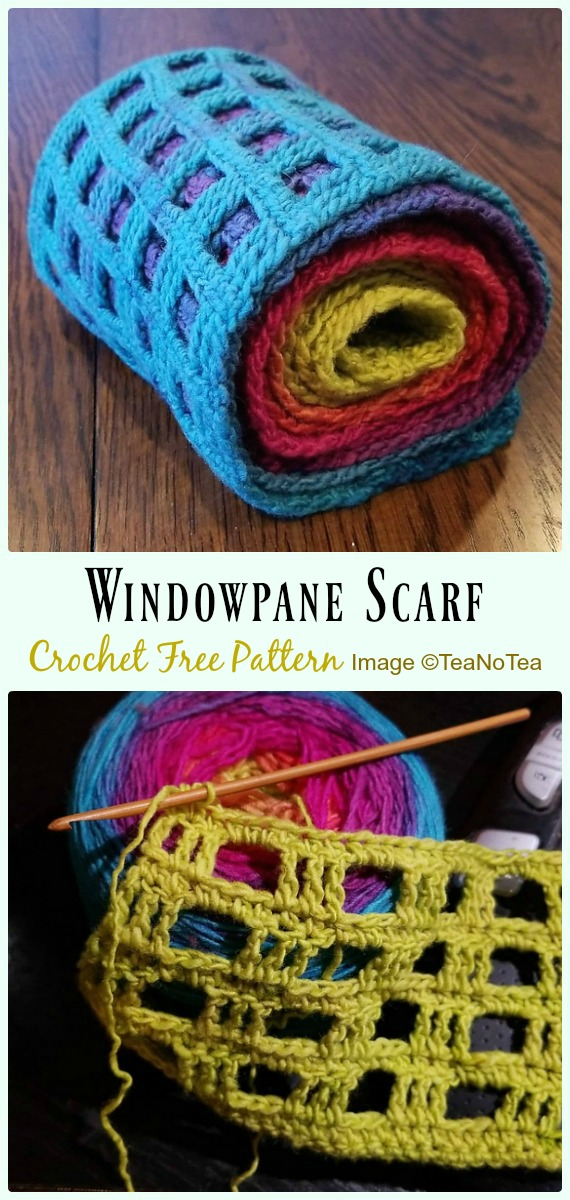 Windowpane Scarf Crochet Free Pattern - #Crochet #Cowl & Infinity Scarf Free Patterns