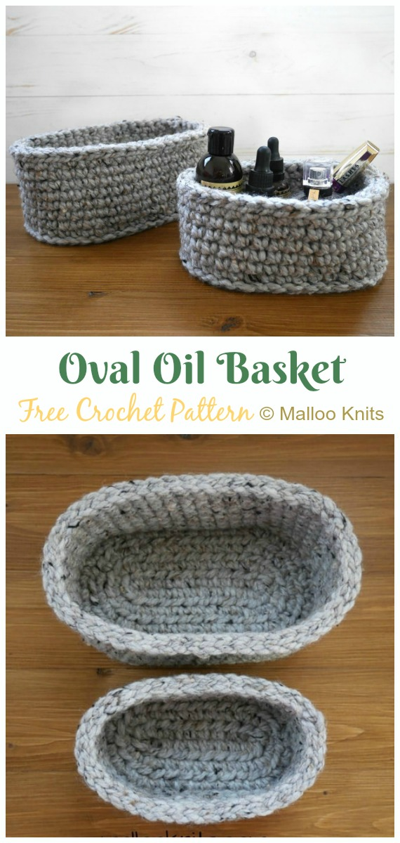 Oval Essential Oil Basket Crochet Free Pattern - Crochet #Spa; Gift Ideas Free Patterns