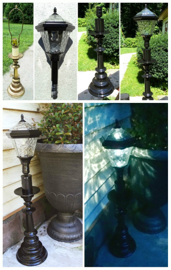 DIY Recycled Solar Light Lamp Tutorial-DIY Solar Inspired Solar Light Lighting Ideas