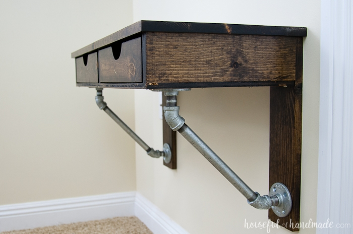 DIY Rustic Industrial Wall Mounted Desk Tutorial - DIY Wall Mounted Desk Free Plans & Instructions