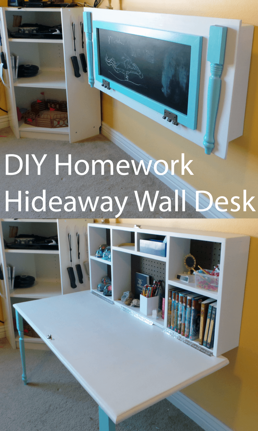 DIY Kids Homework Hideaway Wall Desk Tutorial - DIY Wall Mounted Desk Free Plans & Instructions