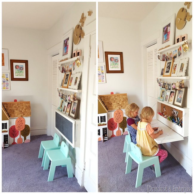DIY Wall Mounted Secretary Desk for Kids Tutorial - DIY Wall Mounted Desk Free Plans & Instructions
