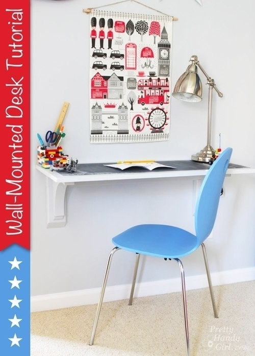 DIY Easy Wall Mounted Desk Tutorial- DIY Wall Mounted Desk Free Plans & Instructions