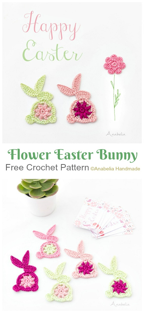 Flower Easter bunny Applique Crochet Free Pattern - #Crochet; Bunny #Applique; Free Patterns