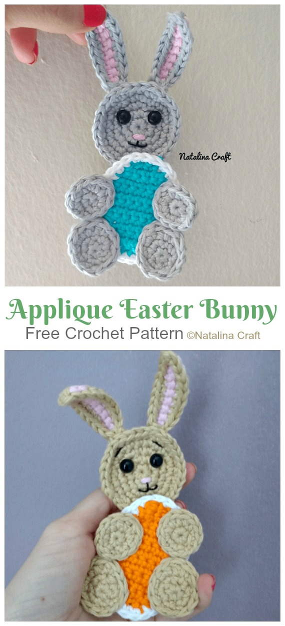 Applique Easter Bunny Crochet Free Pattern - #Crochet; Bunny #Applique; Free Patterns