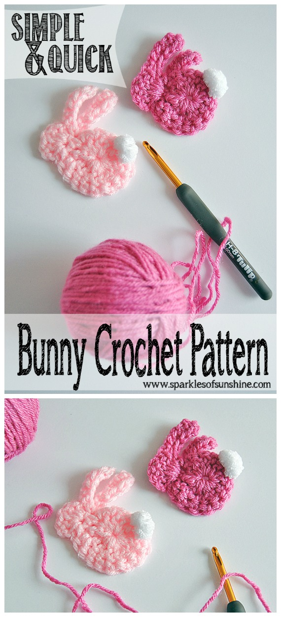 Simple & Quick Bunny Applique Crochet Free Pattern - #Crochet; Bunny #Applique; Free Patterns