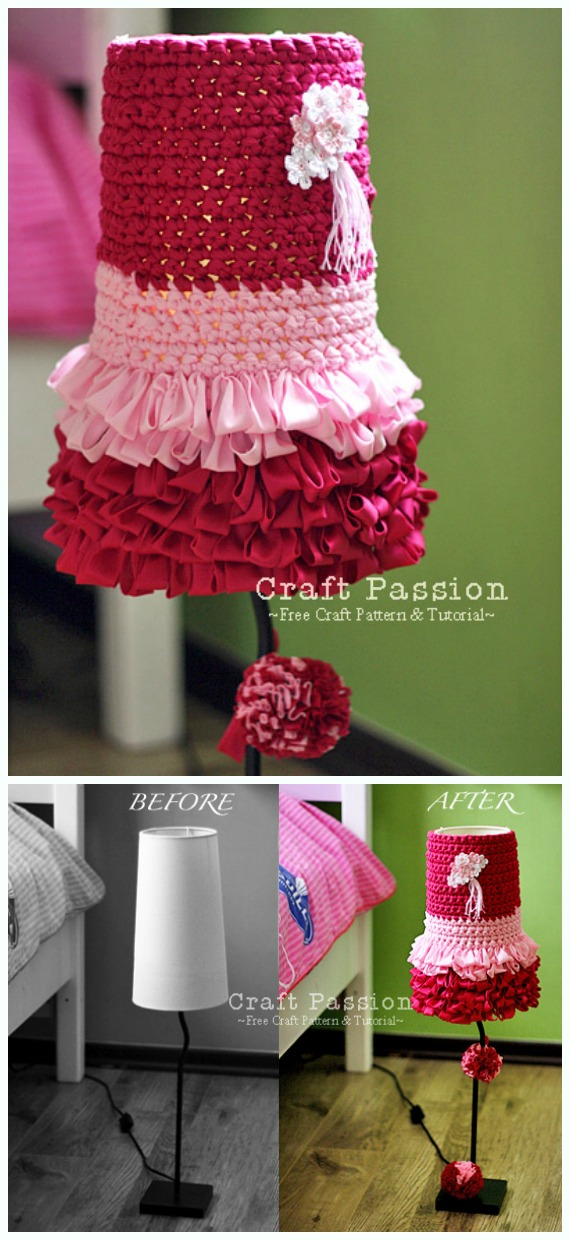 Dolly Lampshade Crochet Free Pattern - #Crochet; Lamp Shade Free Patterns