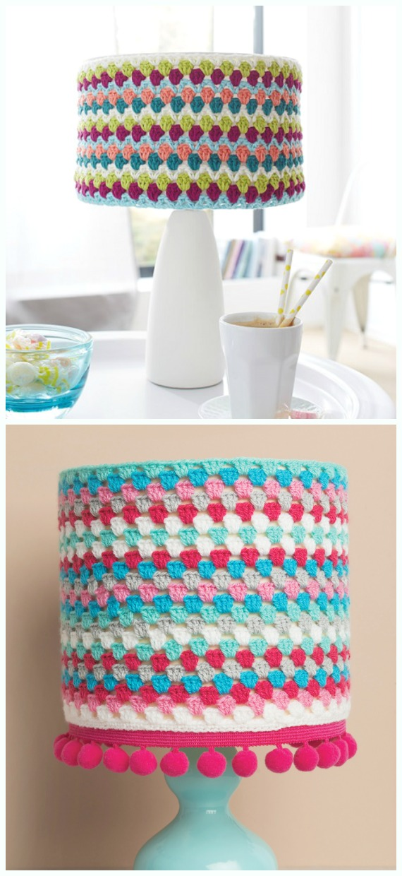 Granny Stripe Lampshade Crochet Free Pattern - #Crochet; Lamp Shade Free Patterns