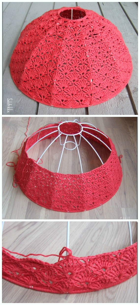 Fan Stitch Lampshade Crochet Free Pattern - #Crochet; Lamp Shade Free Patterns