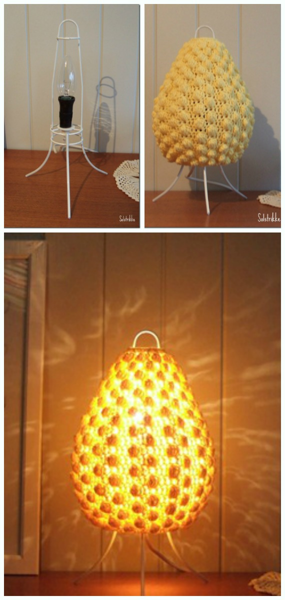Bobble Stitch Lampshade Crochet Free Pattern - #Crochet; Lamp Shade Free Patterns