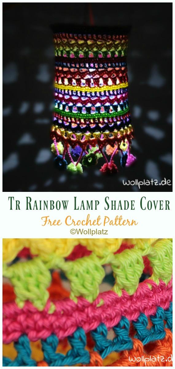 Tr Rainbow Lamp Shade Cover Crochet Free Pattern - #Crochet; Lamp Shade Free Patterns