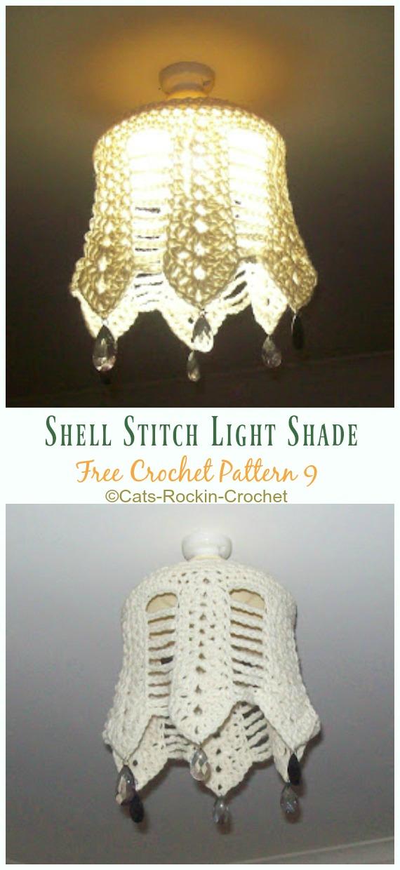 Shell Stitch Light Shade Crochet Free Pattern - #Crochet; Lamp Shade Free Patterns