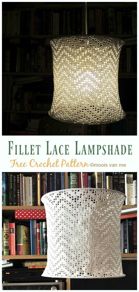 Fillet Lace Lampshade Crochet Free Pattern - #Crochet; Lamp Shade Free Patterns