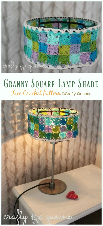 Granny Square Lamp Shade Crochet Free Pattern - #Crochet; Lamp Shade Free Patterns