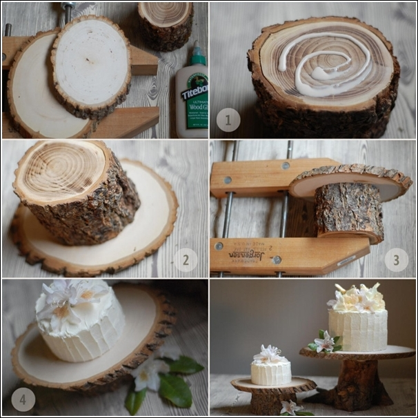 DIY Log Wedding Cake Stand Instructions - Raw Wood Logs and Stumps DIY Ideas Projects