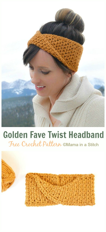 Golden Fave Twist Headband Crochet Free Pattern - Fabulous Women #Headband; Free #Crochet; Patterns