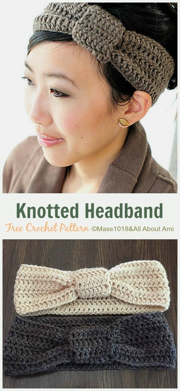 Knotted Headband Crochet Free Pattern - Fabulous Women #Headband; Free #Crochet; Patterns