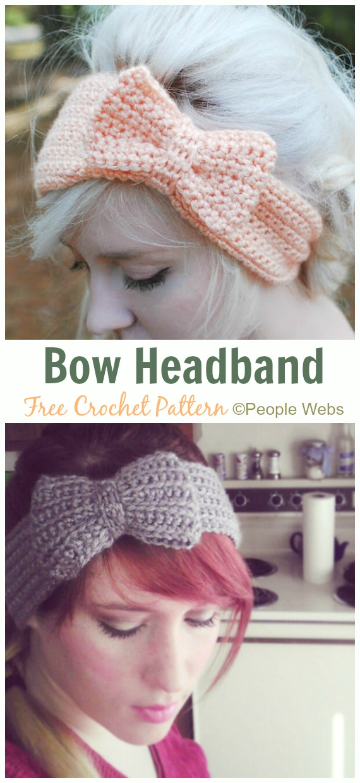 Bow Headband Crochet Free Pattern - Fabulous Women #Headband; Free #Crochet; Patterns