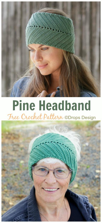 Pine Headband Crochet Free Pattern - Fabulous Women #Headband; Free #Crochet; Patterns
