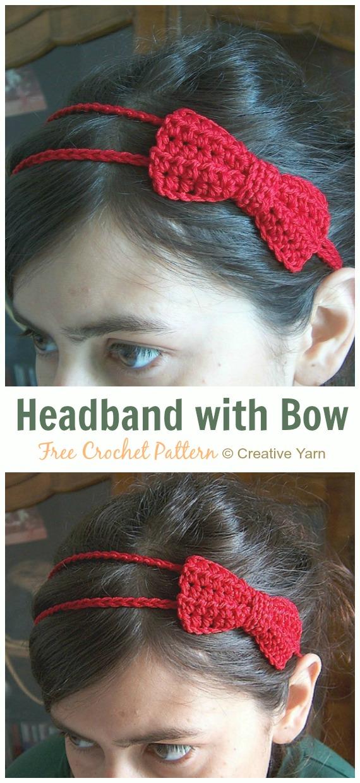 Headband with Bow Crochet Free Pattern - Fabulous Women #Headband; Free #Crochet; Patterns