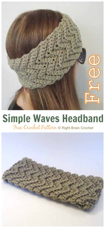 Simple Waves Headband Crochet Free Pattern - Fabulous Women #Headband; Free #Crochet; Patterns