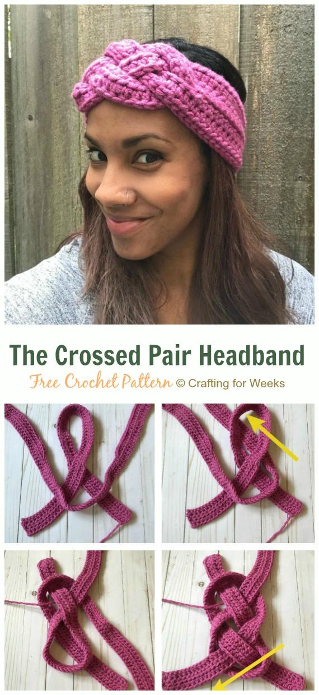 The Crossed Pair Headband Crochet Free Pattern - Fabulous Women #Headband; Free #Crochet; Patterns