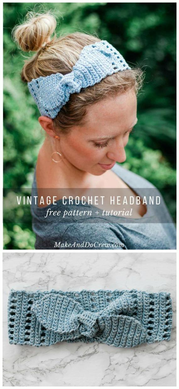 Vintage Summer Headband Crochet Free Pattern - Fabulous Women #Headband; Free #Crochet; Patterns