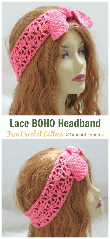 Lace Boho Headband Crochet Free Pattern Fabulous Women Headband