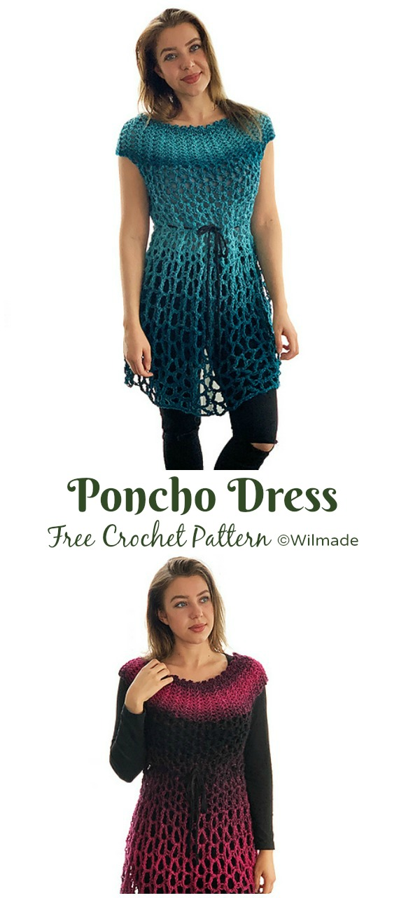Poncho Dress Crochet Free Pattern - Women Summer #Dress; Free Crochet Patterns