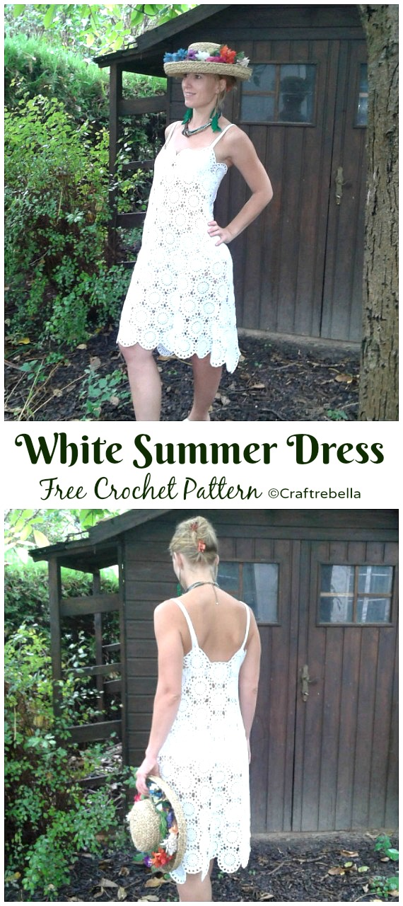 White Summer Dress Crochet Free Pattern - Women Summer #Dress; Free Crochet Patterns