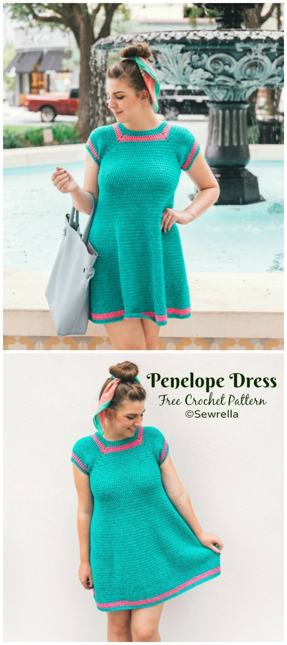 Penelope Dress Crochet Free Pattern - Women Summer #Dress; Free Crochet Patterns