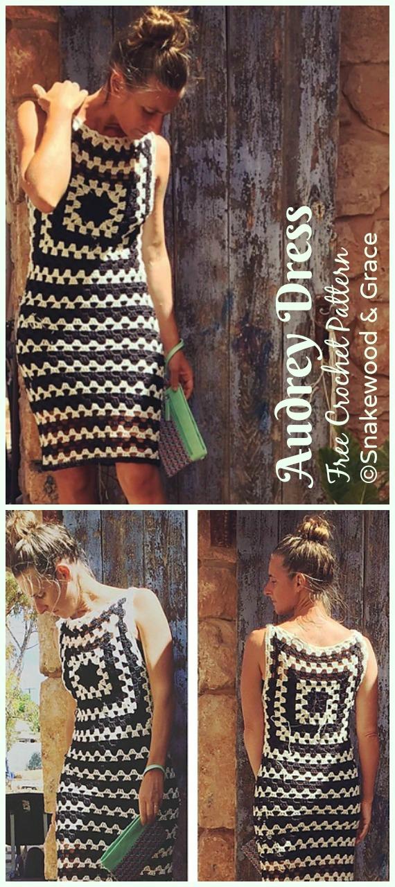 Audrey Dress Crochet Free Pattern - Women Summer #Dress; Free Crochet Patterns