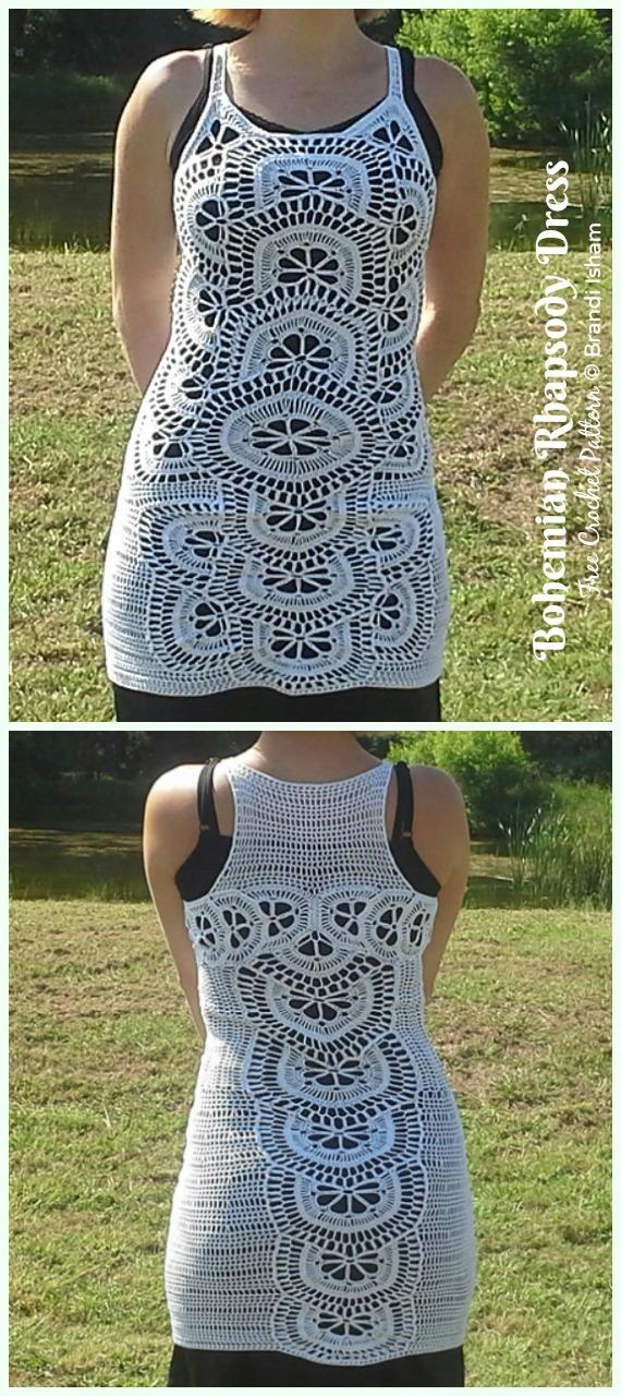 Bohemian Rhapsody Dress Crochet Free Pattern - Women Summer #Dress; Free Crochet Patterns