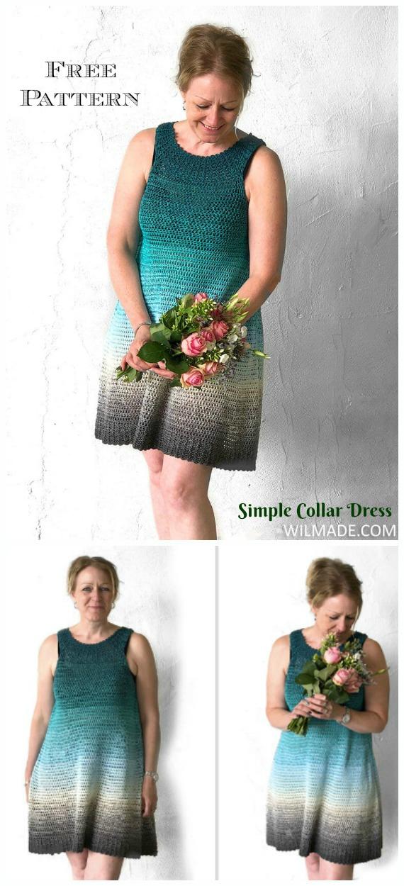 Simple Collar Dress Crochet Free Pattern - Women Summer #Dress; Free Crochet Patterns