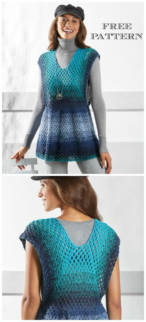 Not-So-Granny Tunic Dress Crochet Free Pattern - Women Summer #Dress; Free Crochet Patterns