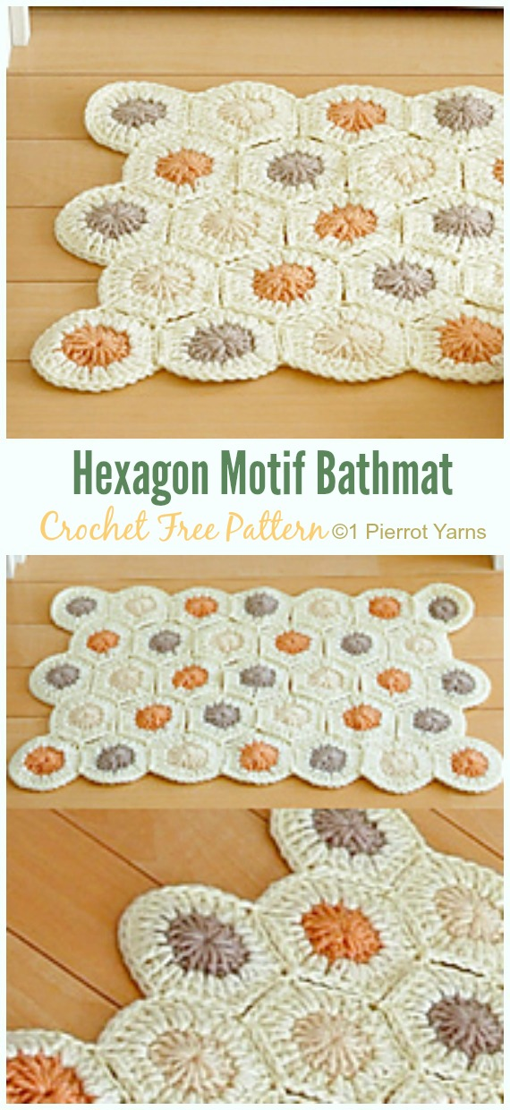 Hexagon Motif Bathmat Crochet Free Pattern - Bath Rug & Bathmat Free #Crochet; Patterns