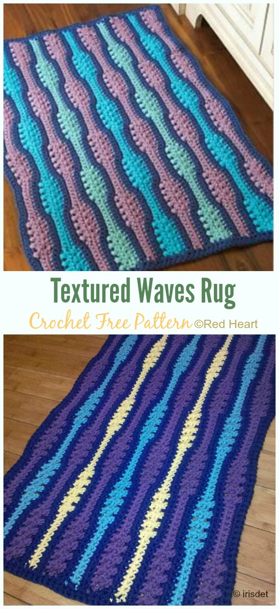 Textured Waves Rug Crochet Free Pattern - Bath Rug & Bathmat Free #Crochet; Patterns