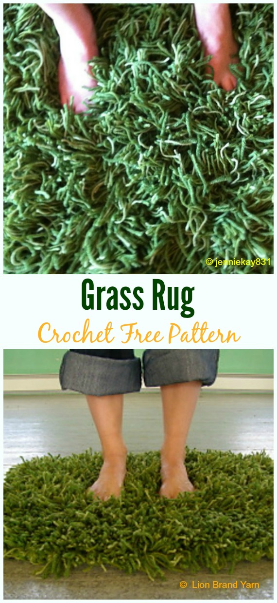 Grass Rug Crochet Free Pattern - Bath Rug & Bathmat Free #Crochet; Patterns