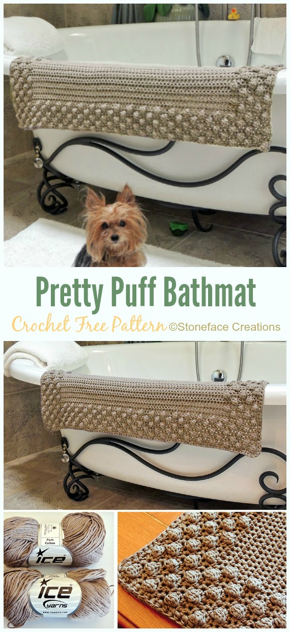 Pretty Puff Bathmat Crochet Free Pattern - Bath Rug & Bathmat Free #Crochet; Patterns