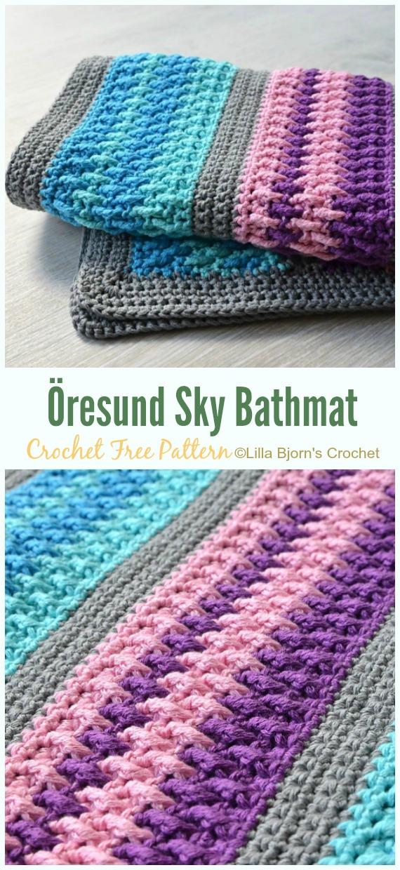 Öresund Sky Bathmat Crochet Free Pattern - Bath Rug & Bathmat Free #Crochet; Patterns