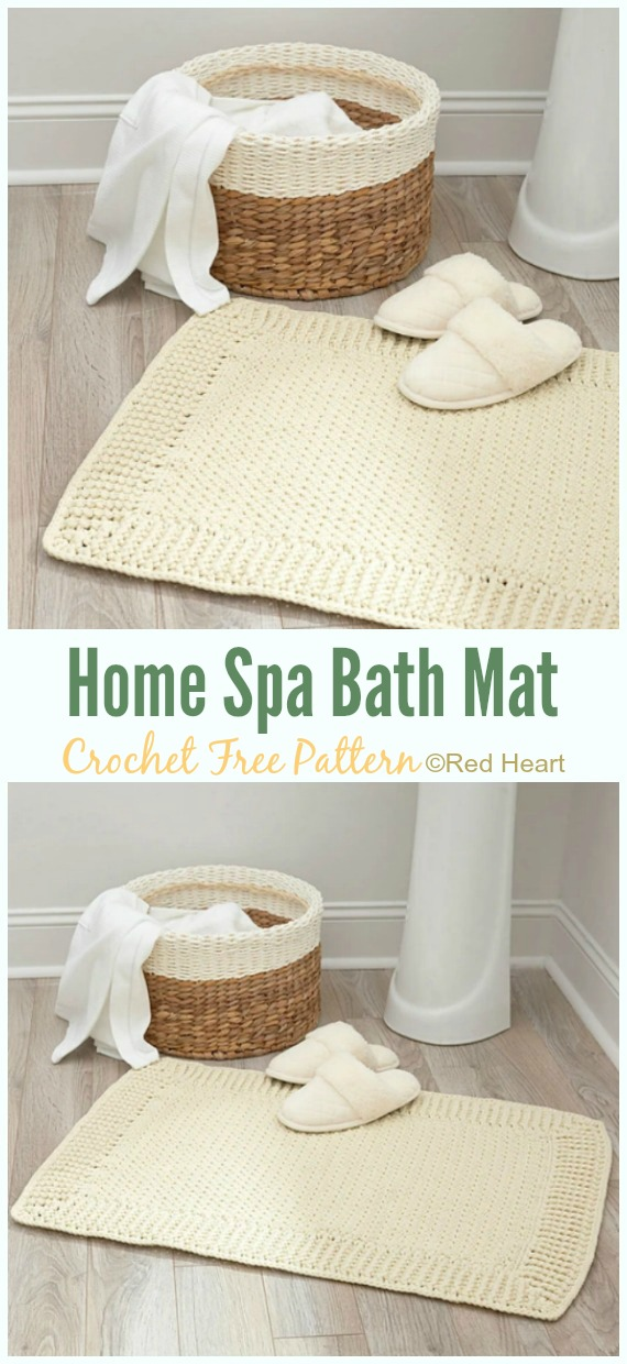 Home Spa Bath Mat Crochet Free Pattern - Bath Rug & Bathmat Free #Crochet; Patterns