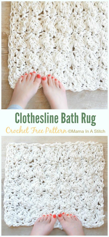 Clothesline Bath Rug Crochet Free Pattern - Bath Rug & Bathmat Free #Crochet; Patterns