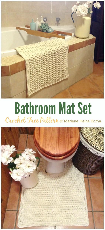 Bathroom Mat Set Crochet Free Pattern - Bath Rug & Bathmat Free #Crochet; Patterns